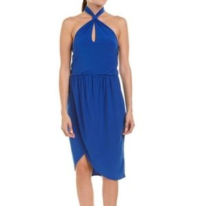Laundry Royal Blue Halter Keyhole Wrap Dress 6